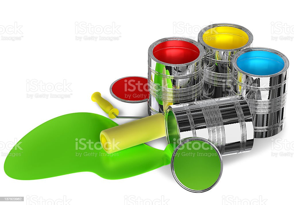 Cans of paint and roller royalty-free stock photo