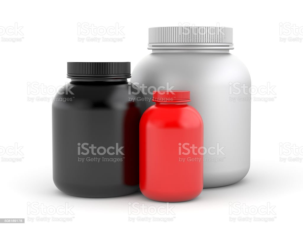 Cans of protein or gainer powder stock photo