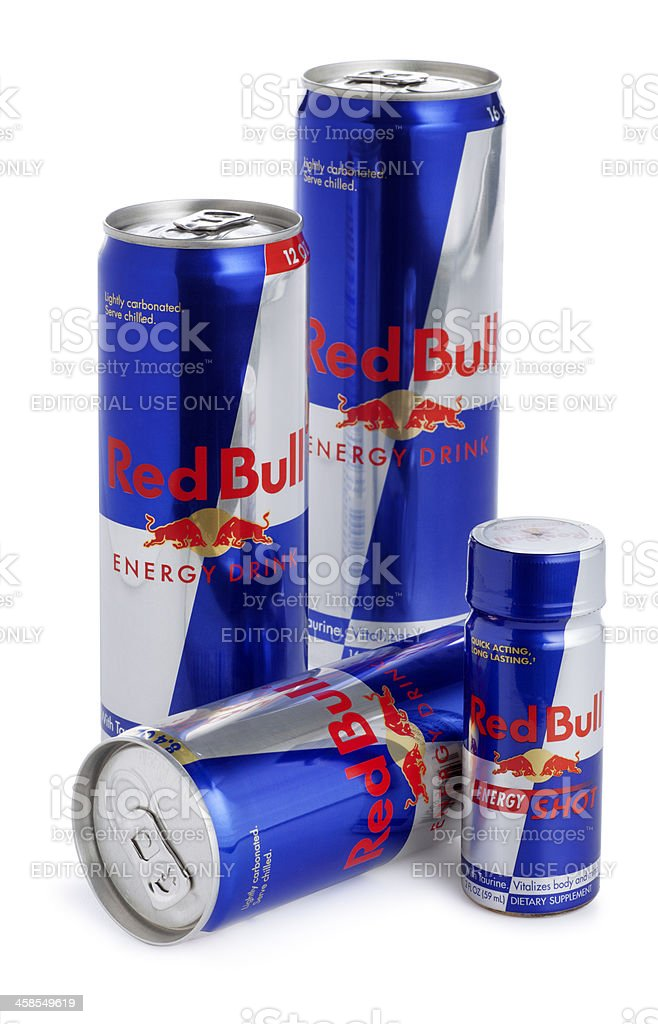 Cans of Red Bull Energy Drink stock photo