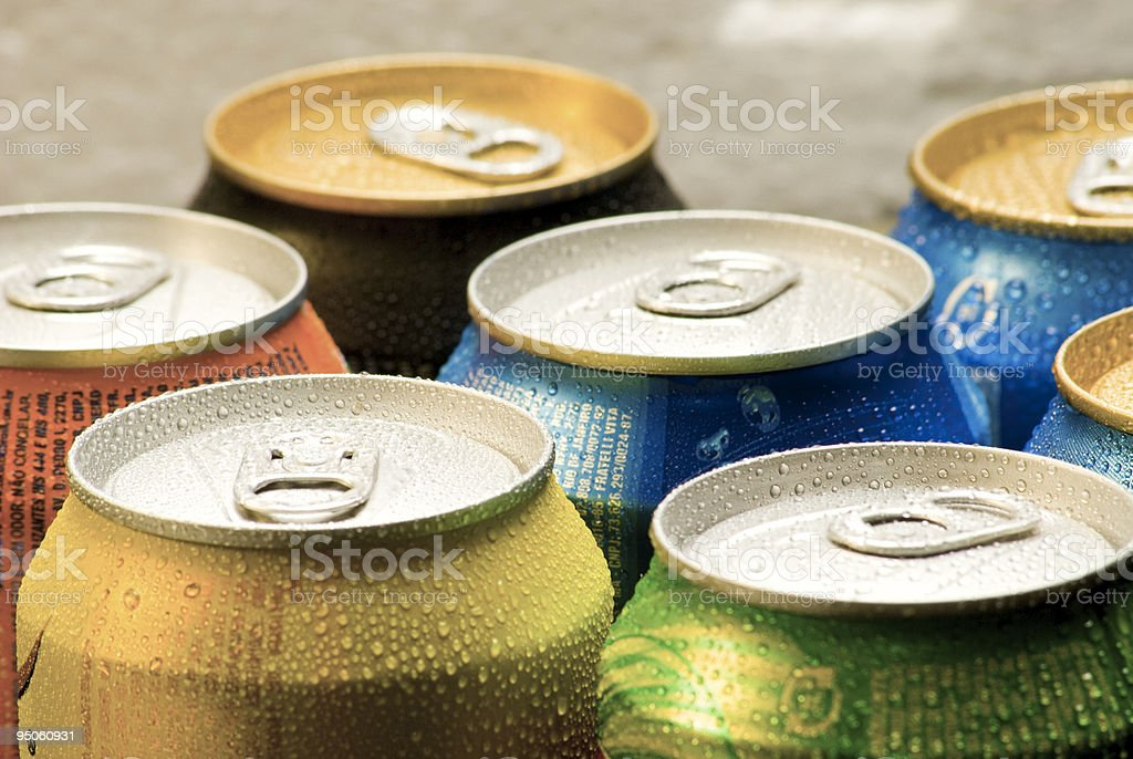 Cans of soft drink stock photo