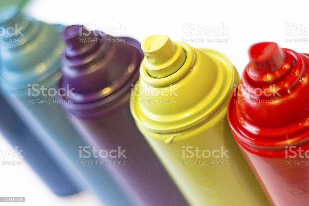 Cans of spray paint stock photo