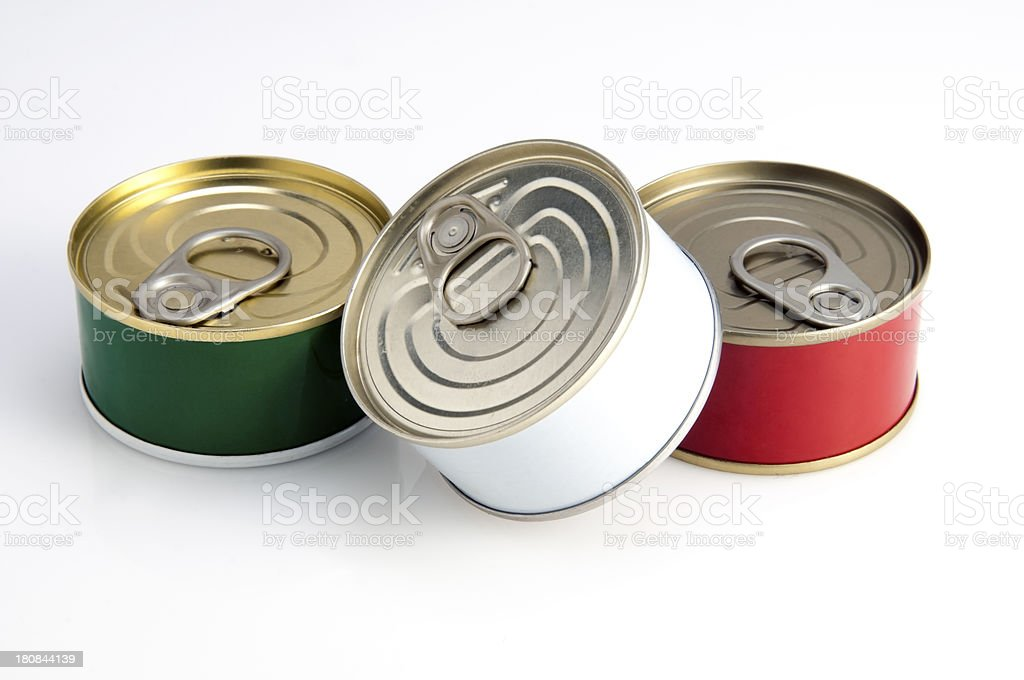 Cans of tuna as Italian Flag stock photo