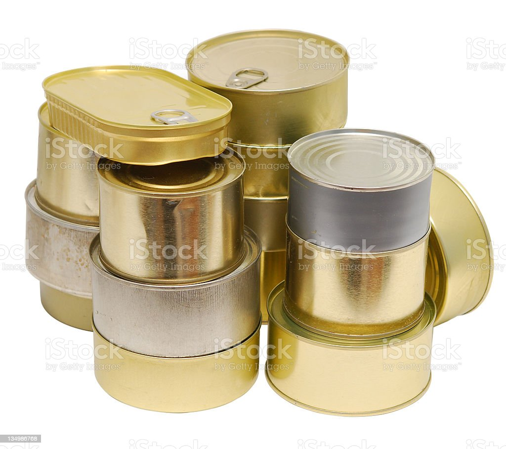 cans on white royalty-free stock photo