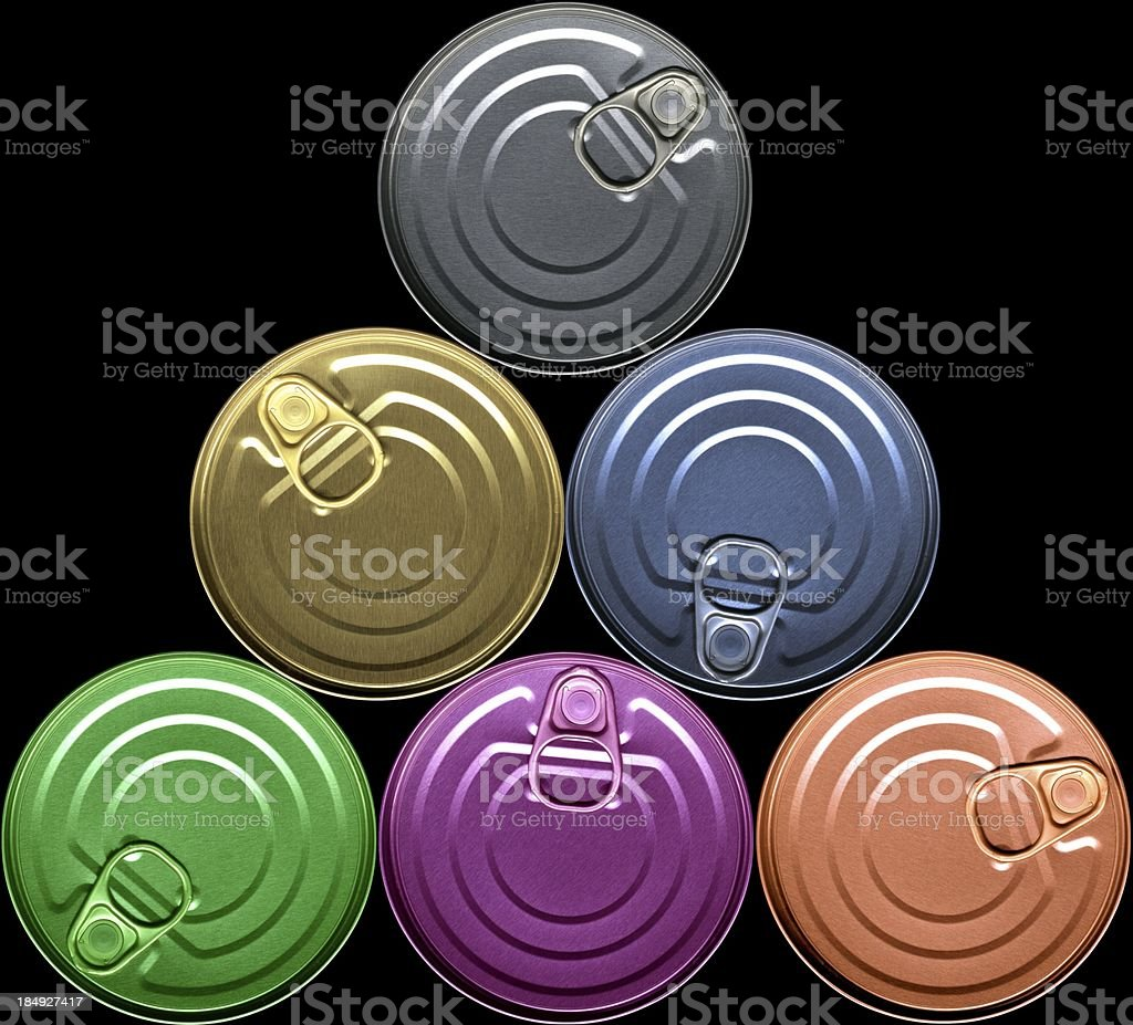 Cans - pyramid, coloured royalty-free stock photo