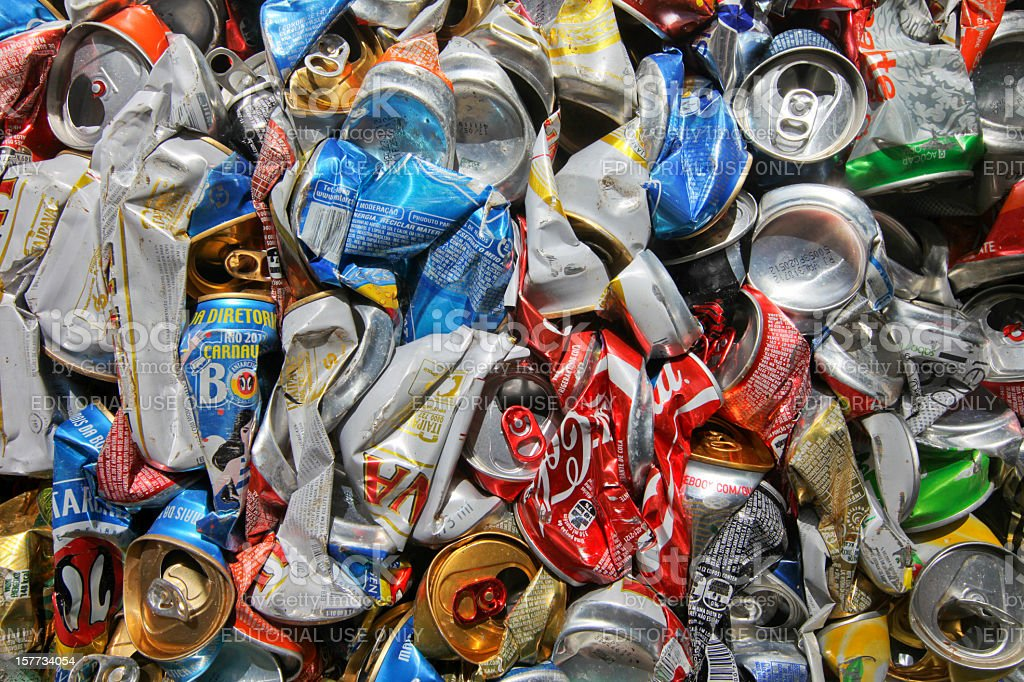 Cans screwed up stock photo