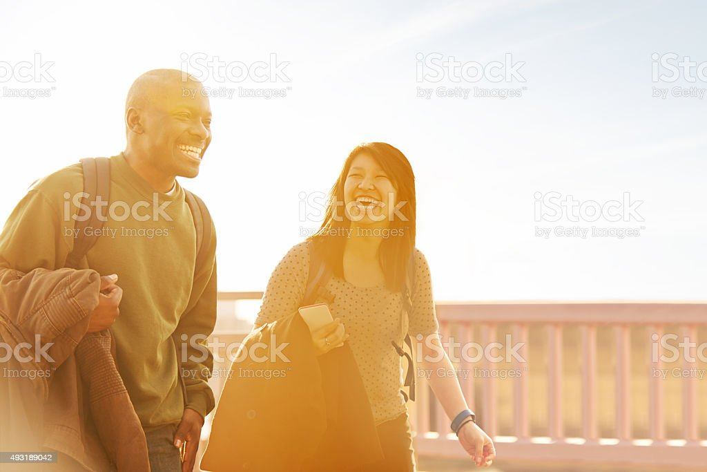 I can't believe we're in every class together! stock photo