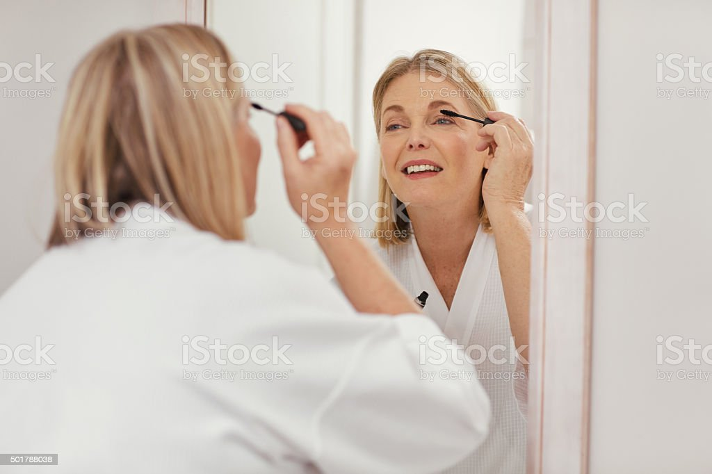 Can't face the day without mascara! stock photo
