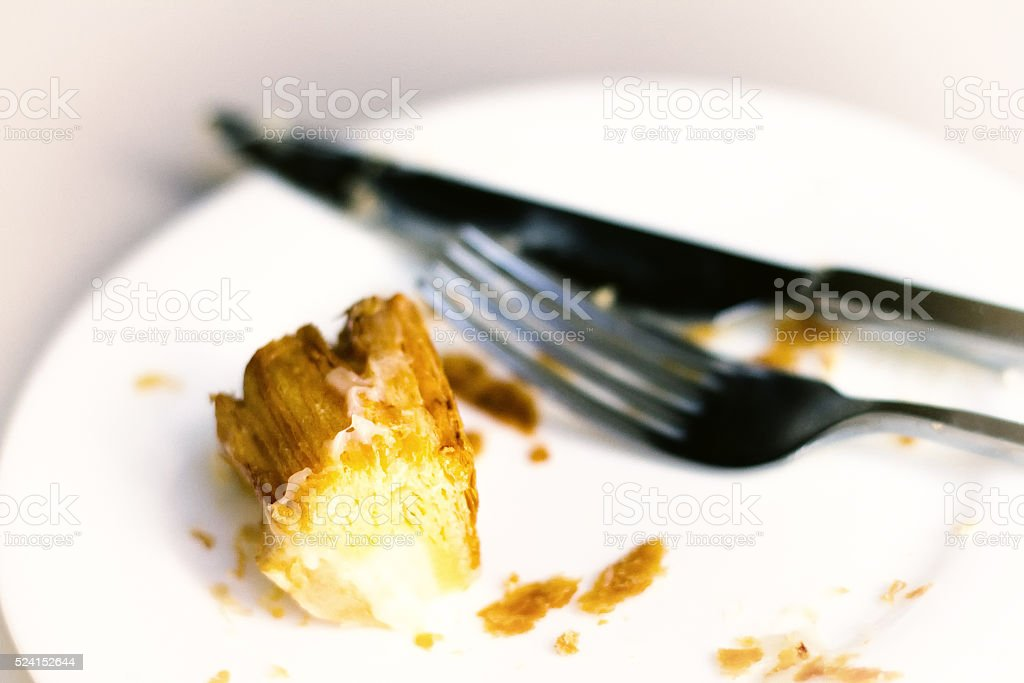 Can't Finish Last Bite: Pastry Leftovers, Knife, Fork stock photo