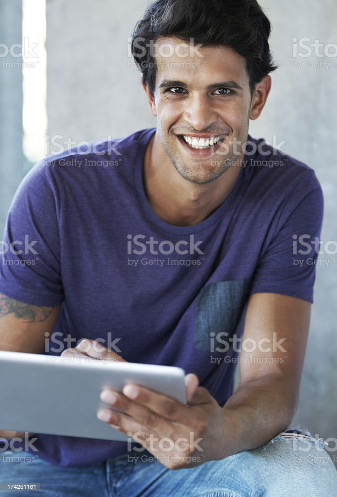 I can't imagine my life without it - Digital tablets royalty-free stock photo