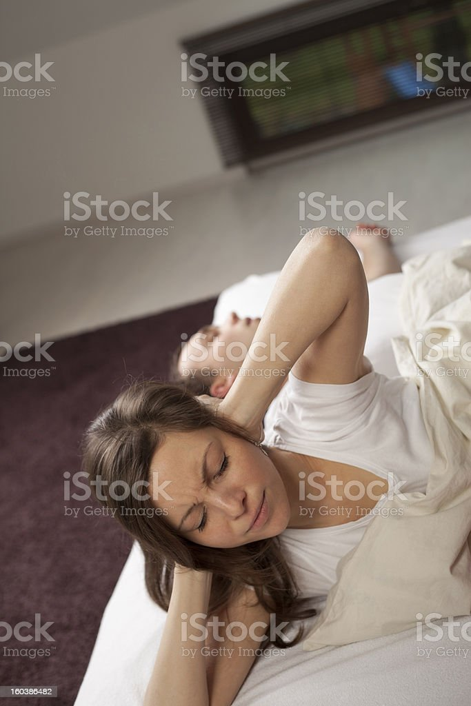 I can't sleep! Closed eyes royalty-free stock photo