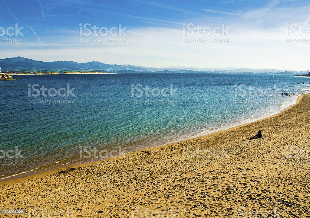 Cantabrian Sea and Santander stock photo