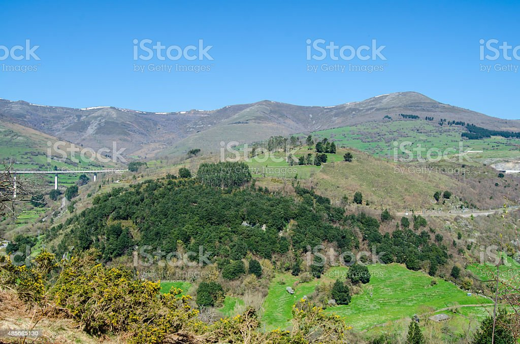 Cantabrian valley stock photo