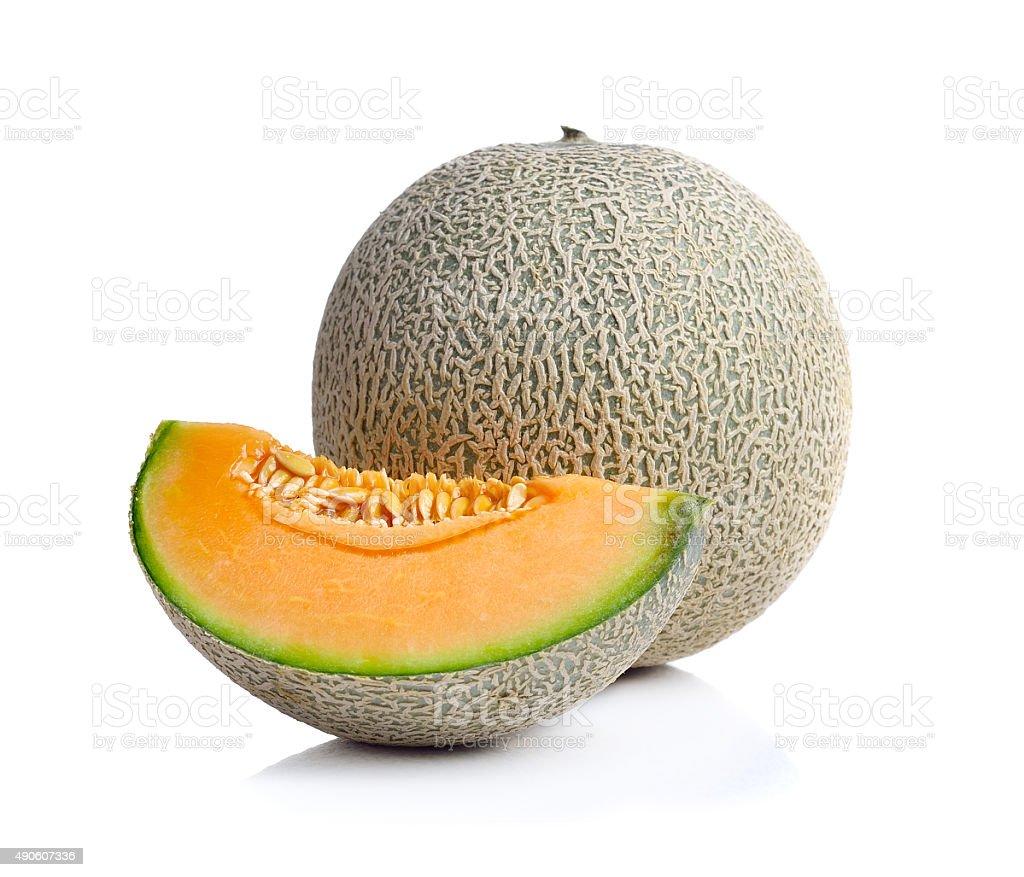 Kantalup melon na białym tle zbiór zdjęć royalty-free