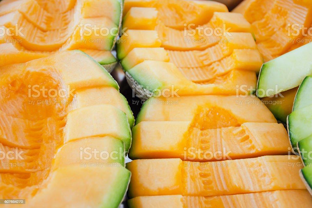 Cantaloupe or Charentais melon (Other names are Melon, cantelope stock photo