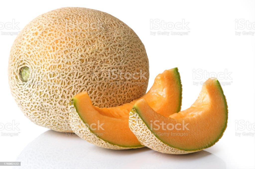 Cantaloupe Whole With Slices stock photo