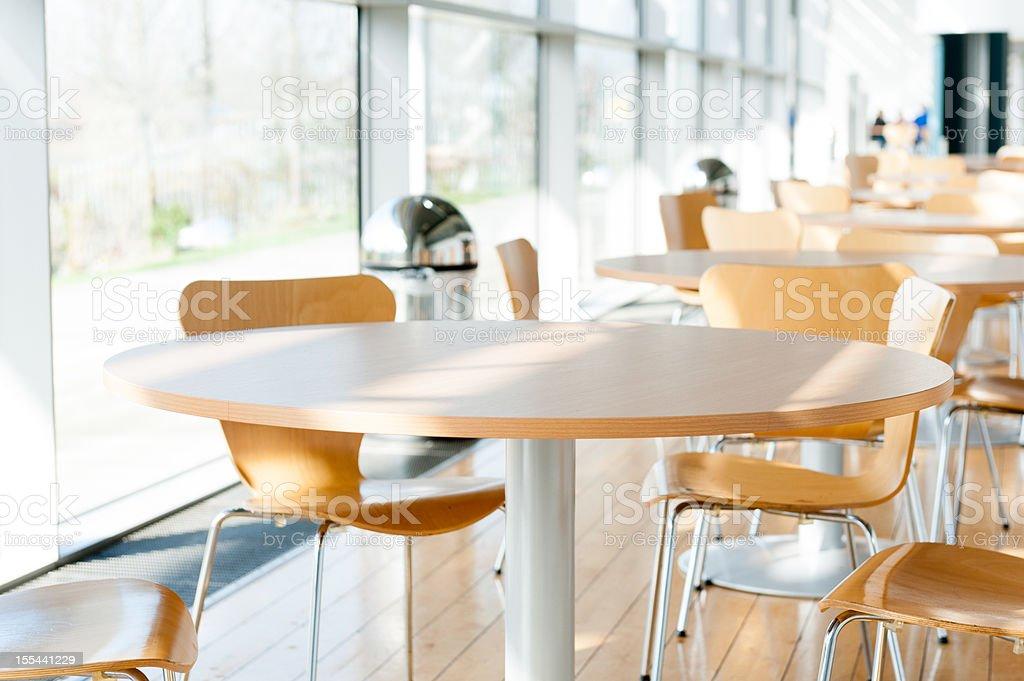 Canteen table stock photo