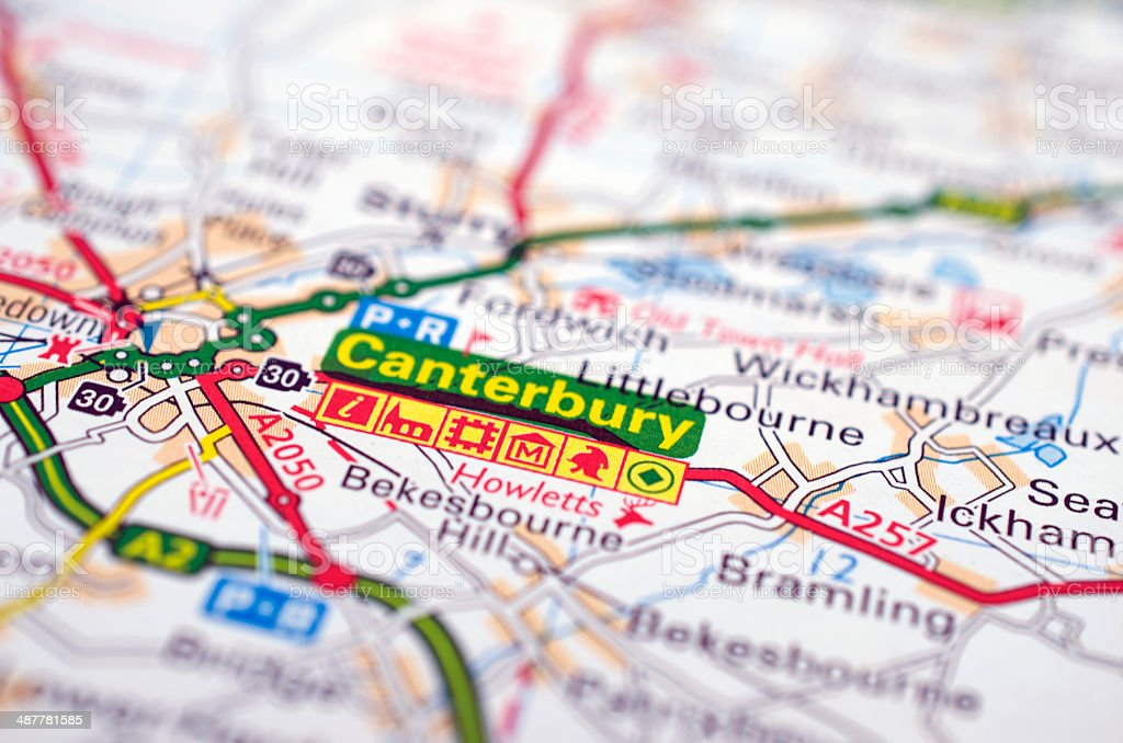 Canterbury in England on road map stock photo