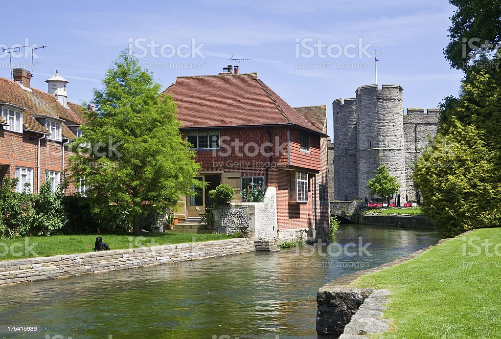 Canterbury - River Stour and Westgate Tower stock photo