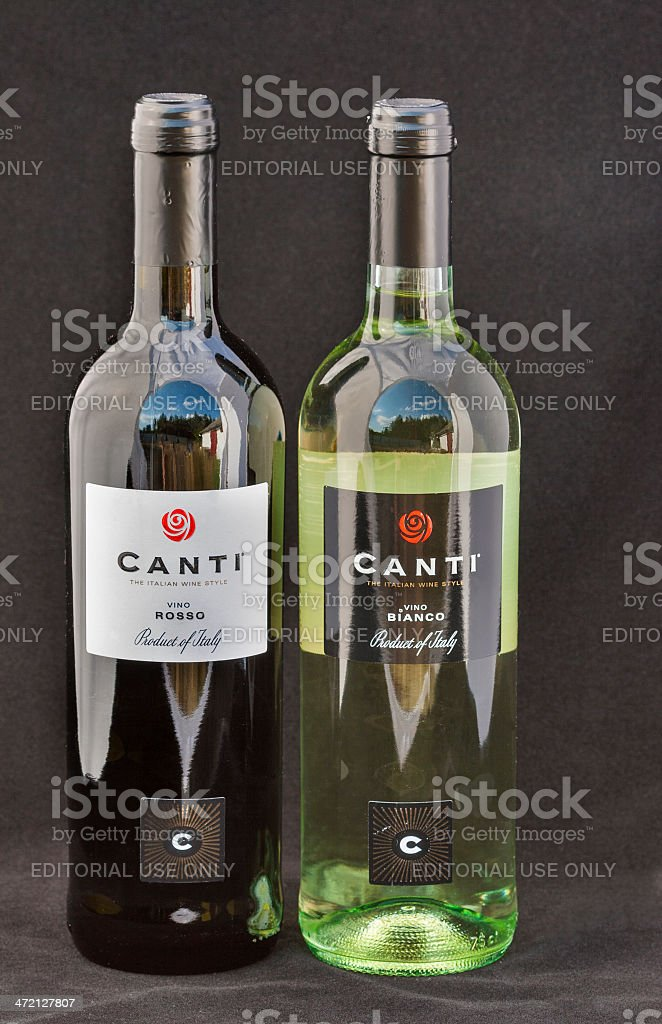 Canti Italian wine red ans white stock photo