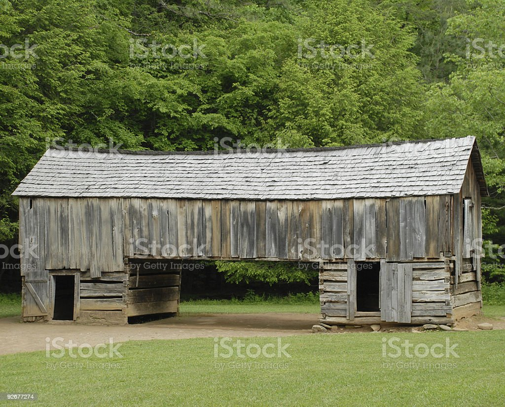 Cantilever barn at Cades Cove royalty-free stock photo