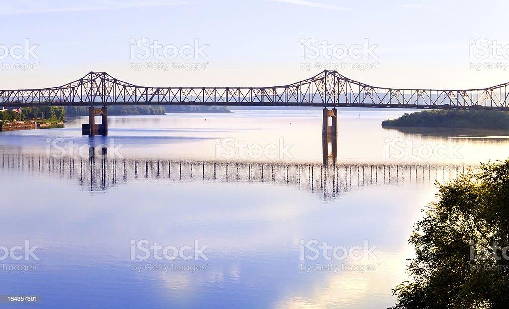 Cantilever bridge across Illinois river stock photo