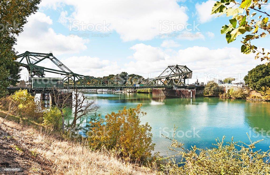Cantilever Bridge over Sacramento River stock photo