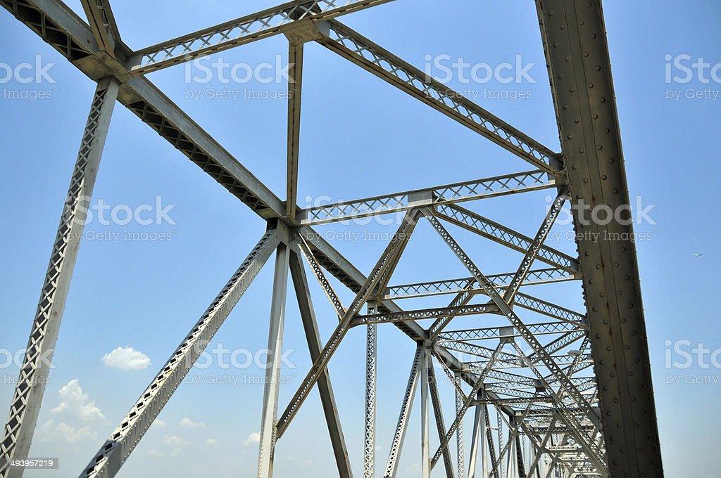 cantilevered truss bridge stock photo