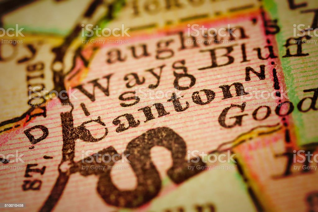 Canton, Mississippi on an Antique map stock photo