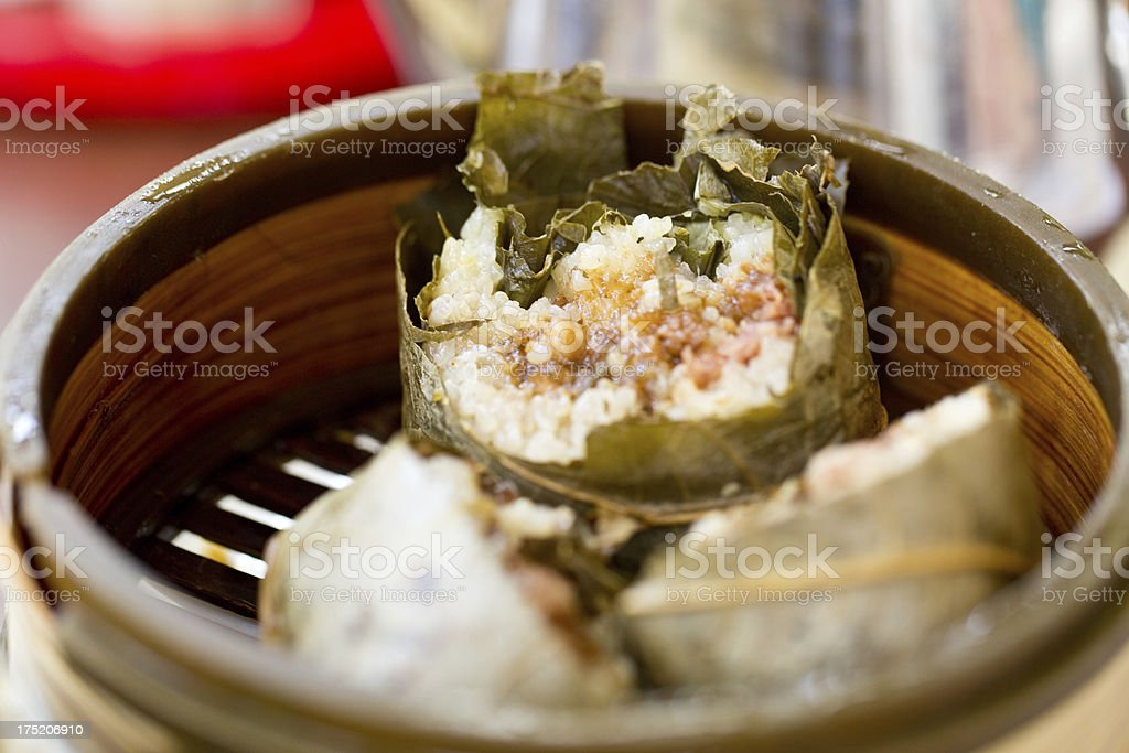 Cantonese Food- Sticky rice in lotus leaf stock photo