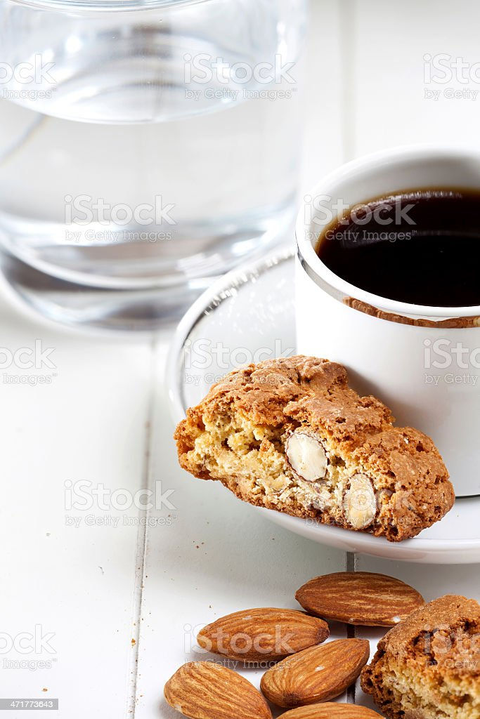 Cantuccini biscuits and espresso royalty-free stock photo