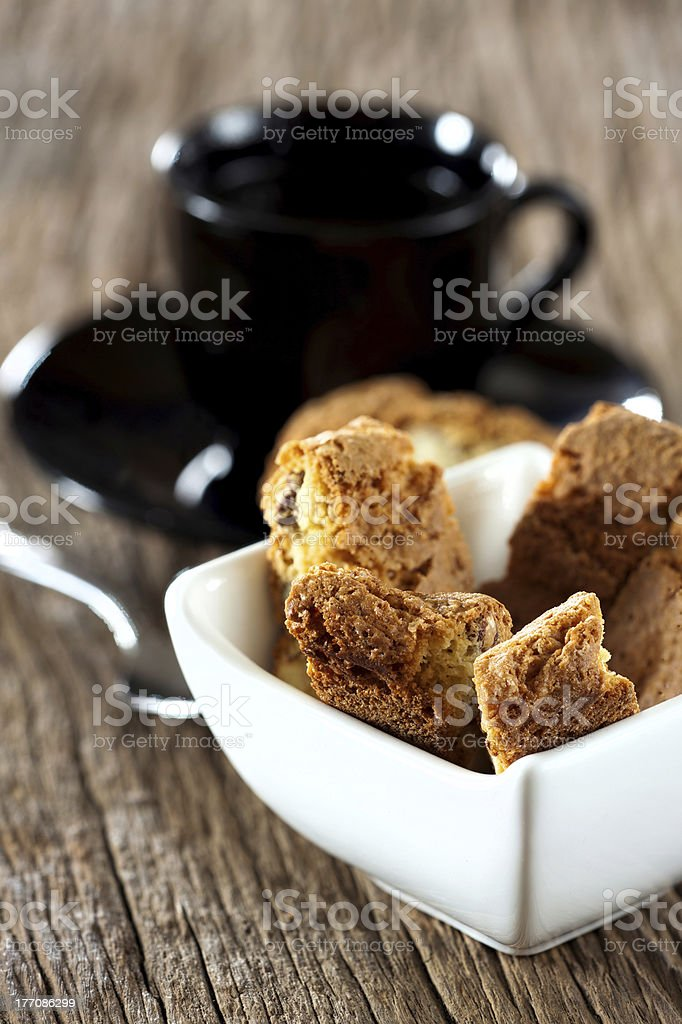 Cantuccini biscuits in bowl royalty-free stock photo