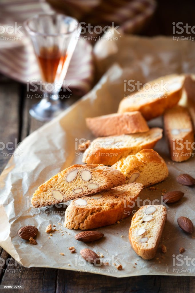 Cantuccini biscuits with vin santo stock photo