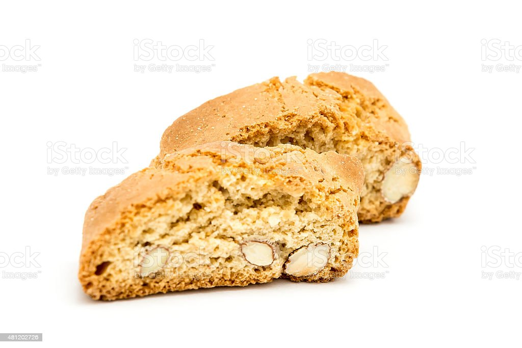 cantuccini italian biscotti biscuits Isolated object on white stock photo