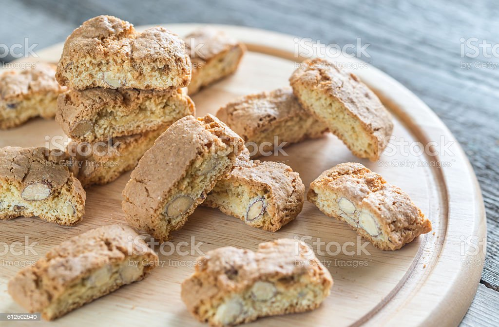 Cantuccini with almonds stock photo