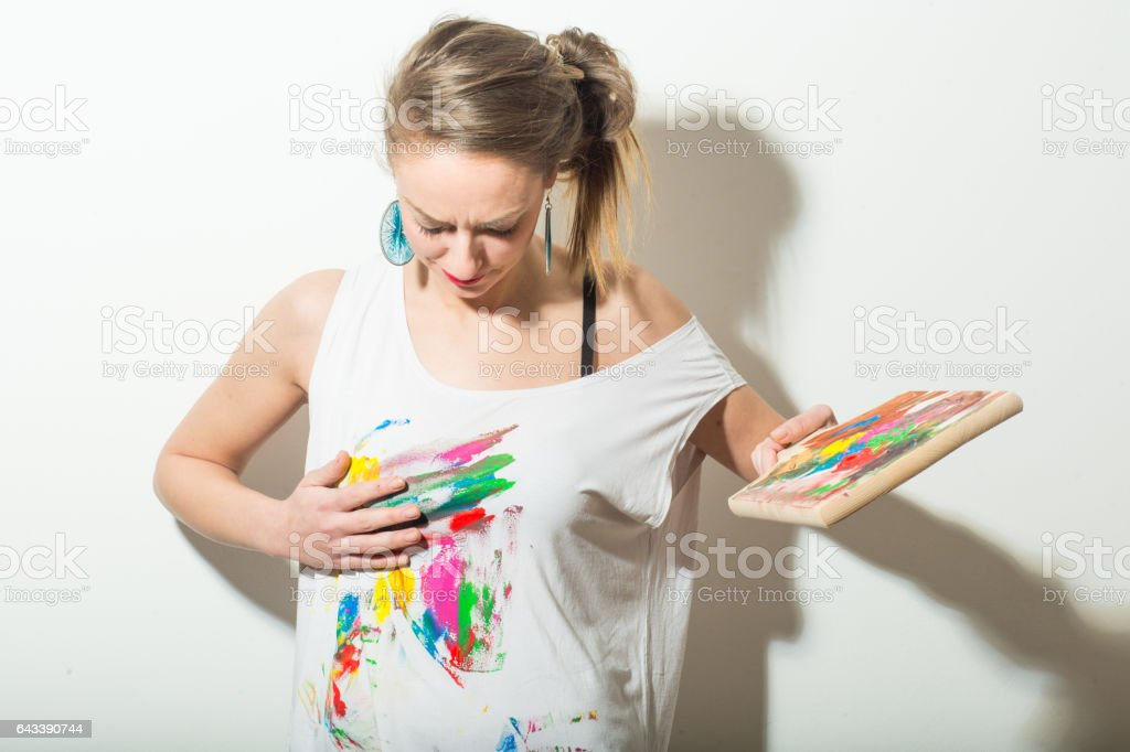 Canvas as a shirt stock photo