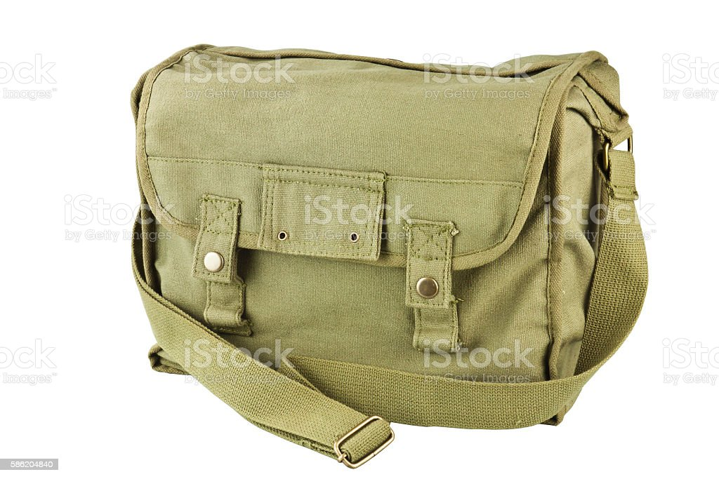 Canvas bag soldier stock photo