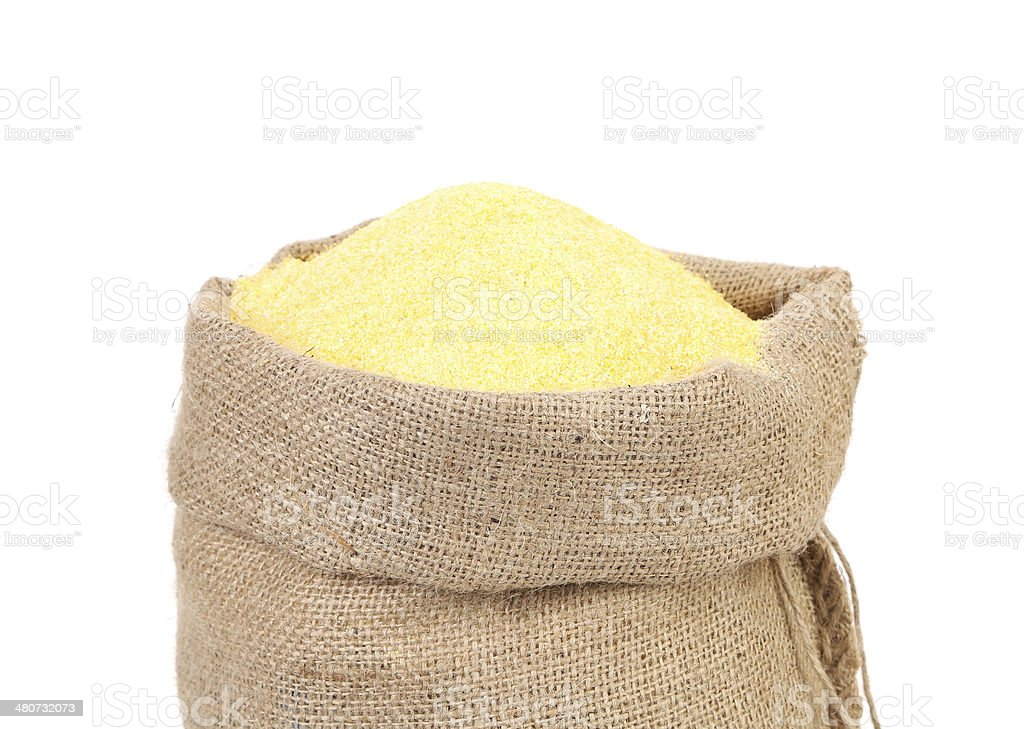 Canvas bag with cornmeal. stock photo
