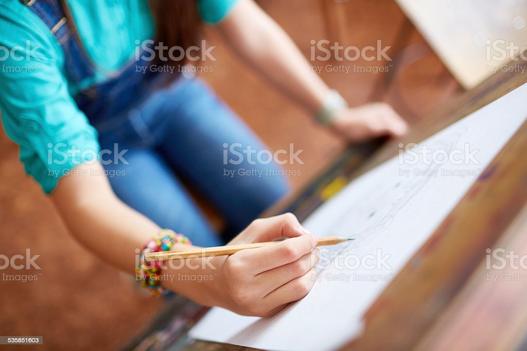 Canvas drawing stock photo