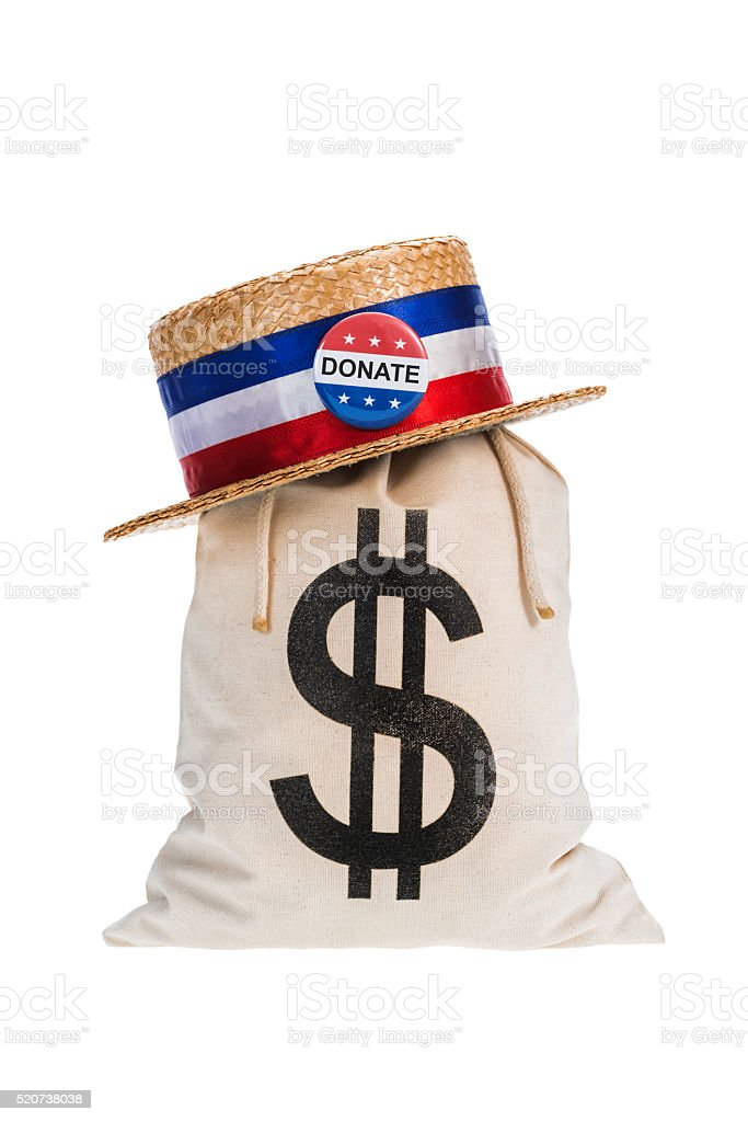 Canvas Money Bag with Skimmer hat on white background stock photo