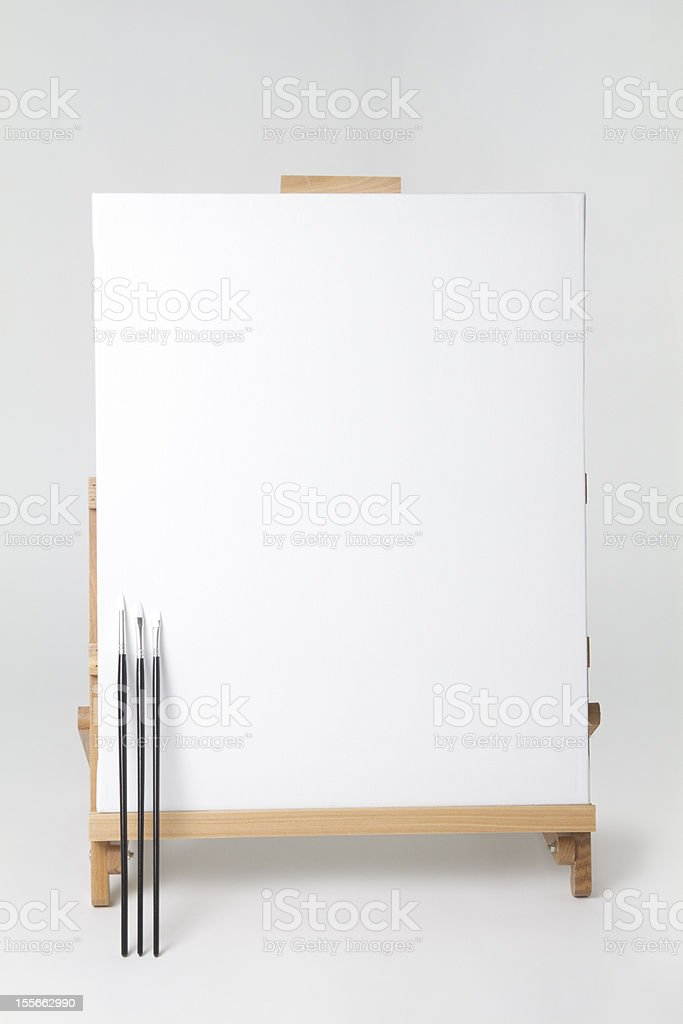 Canvas on Easel - Clipping Path royalty-free stock photo