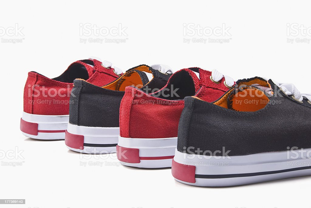 canvas shoes in a row stock photo
