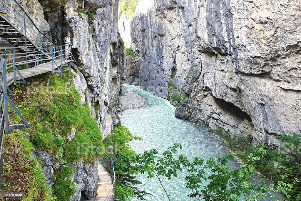 Canyon Aare Gorge. Switzerland. stock photo