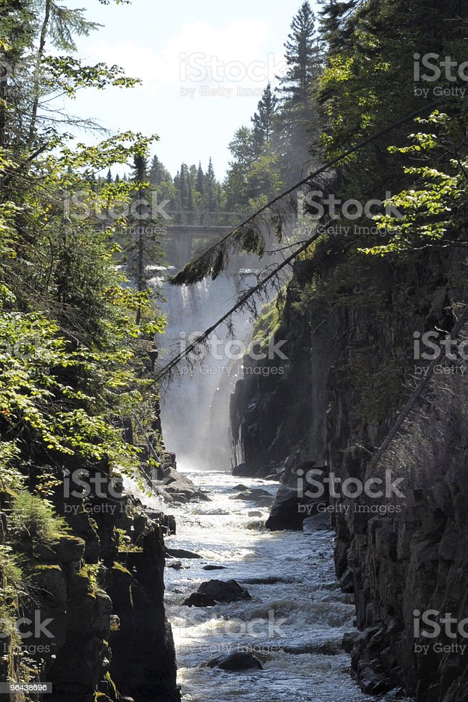 Canyon and Waterfalls near Chicoutimi stock photo