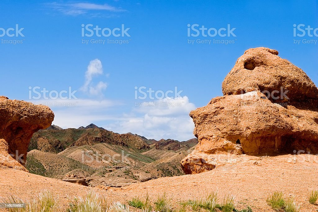 Canyon Charyn river in Kazakhstan, summer day royalty-free stock photo