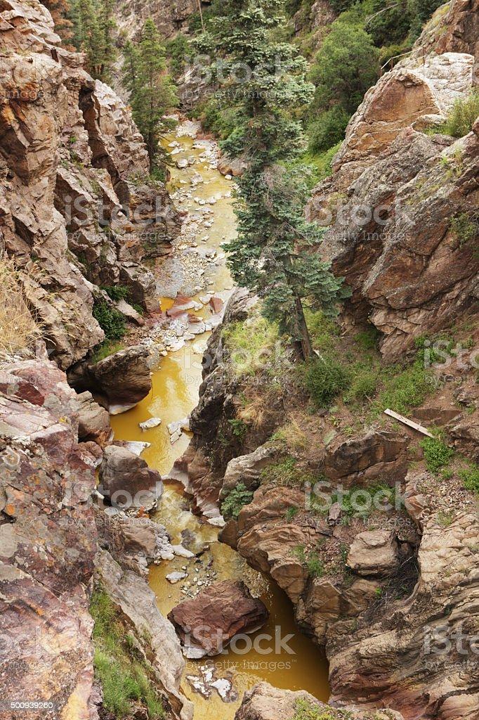 Canyon Creek Environmental Pollution Ouray Colorado stock photo