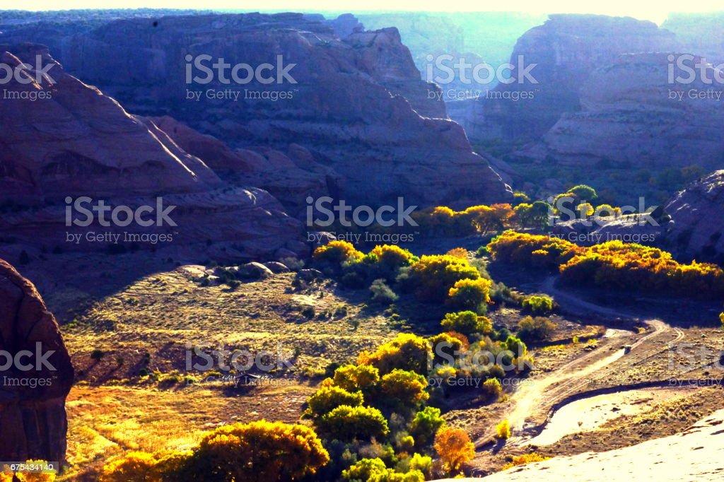 Canyon de chellys' morning sunshine. stock photo