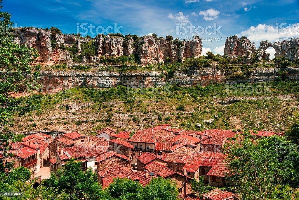 Canyon Ebro river.Orbaneja del Castillo. stock photo