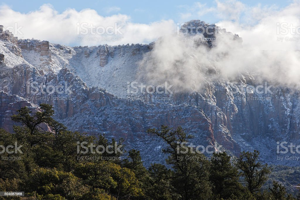 Canyon Fog Mist Winter Wilderness Terrain stock photo