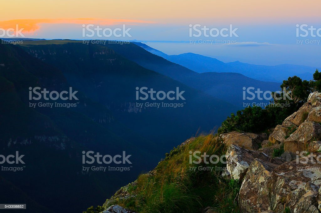 Canyon Fortaleza valley, dramatic sunset, Rio Grande do Sul, Brazil stock photo