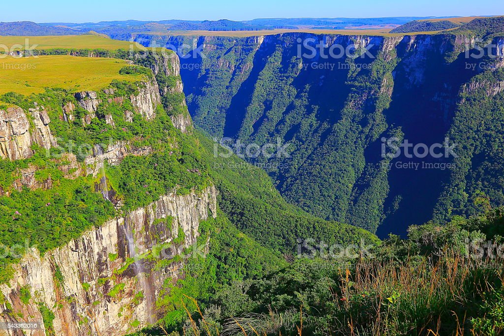Canyon Fortaleza valley, impressive rock face waterfall sunrise, Southern Brazil stock photo
